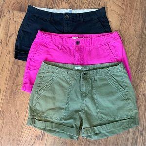 3 Old Navy Boyfriend casual khaki shorts size 6